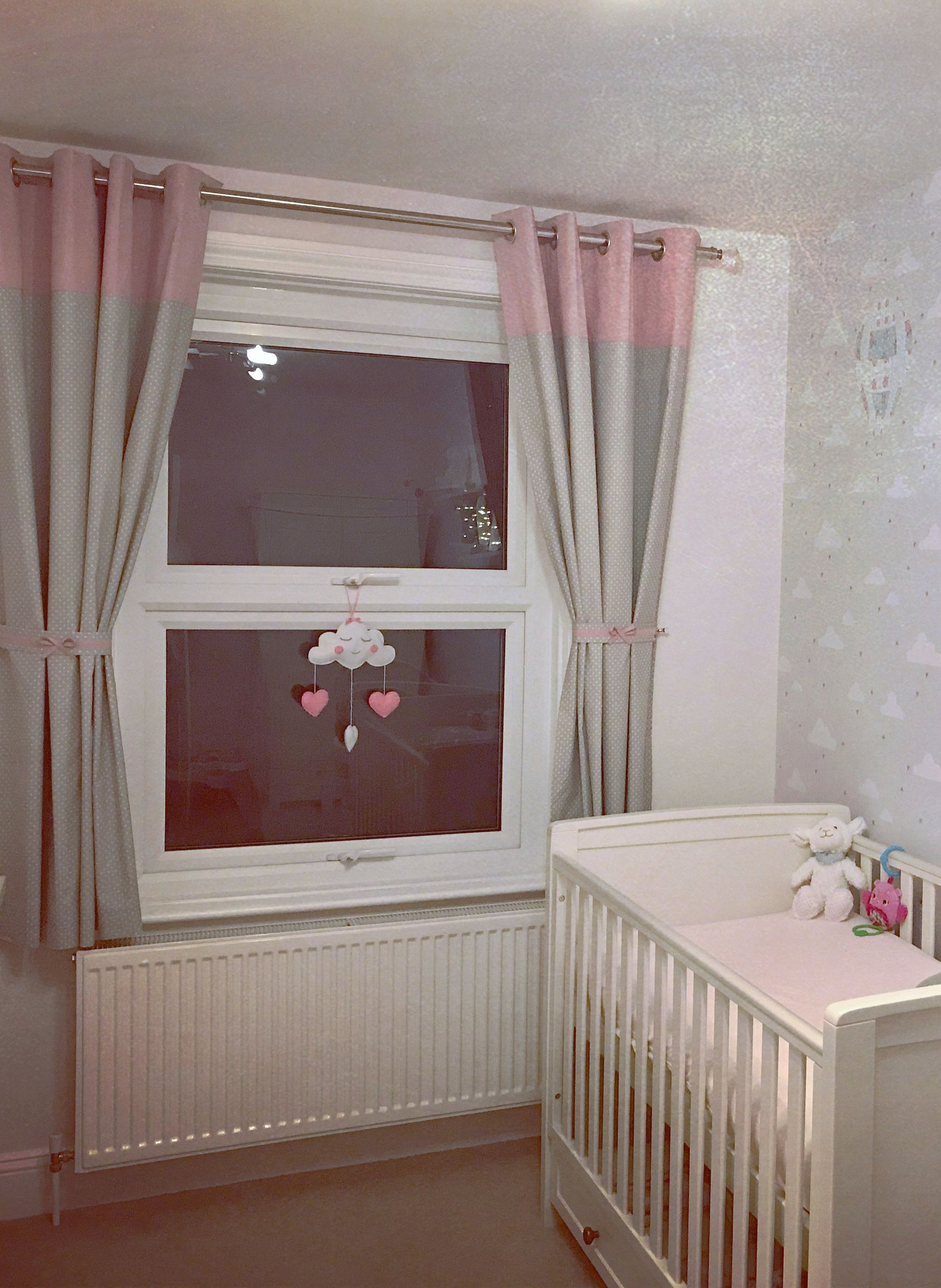 Cute Grey Pink Blackout Curtains For Baby Nursery Blush