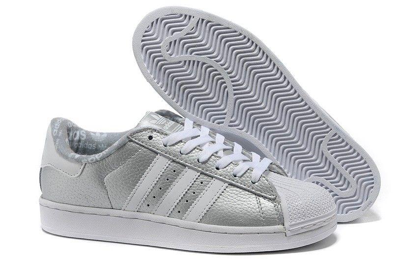 zapatillas adidas superstar 2 cuero silver blancas