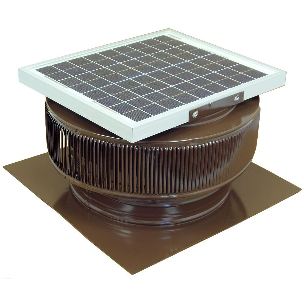 Active Ventilation 1007 Cfm Brown Powder Coated 15 Watt Solar Powered 14 In Dia Roof Mounted Attic Exha Solar Powered Attic Fan Attic Exhaust Fan Exhaust Fan