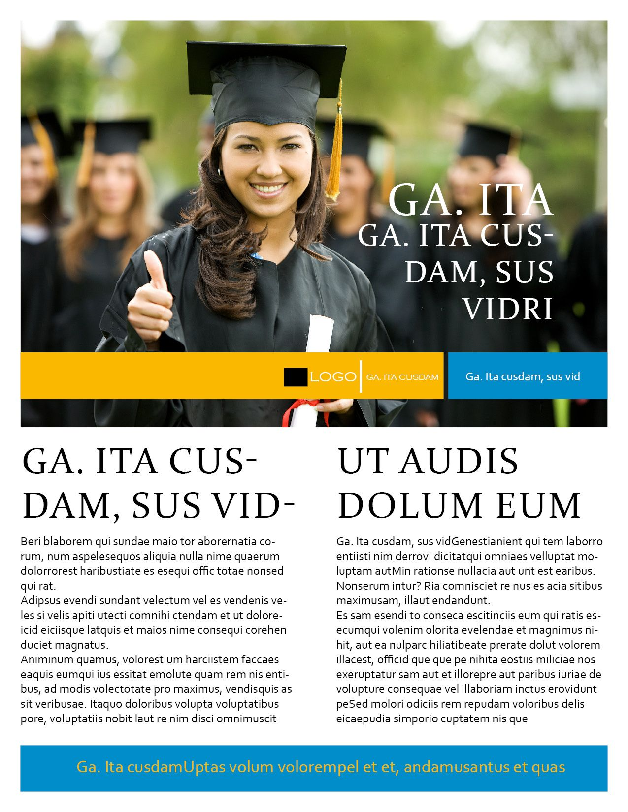 College Print Flyer Template For Indesign University Technical