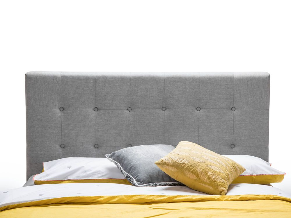 Best Upholstered Light Grey Fabric Tufted Studded Button Queen 400 x 300