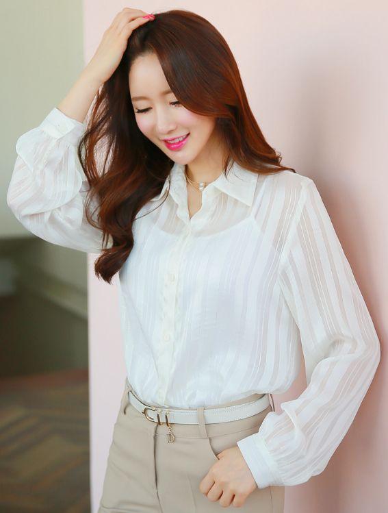 StyleOnme_Stripe Chiffon Collared Blouse #ivory #collared #blouse #sheer #koreanfashion #seoul #springtrend #classy #feminine #kstyle
