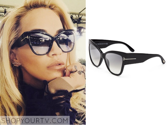 Rita Ora wears these black sunglasses in this episode of X Factor UK. THey  are the Tom Ford Anoushka Cat Eye Sunglasses.