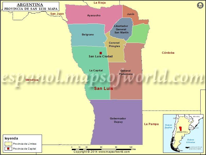 Mapa De San Luis Provincia De San Luis Argentina En 2020 San