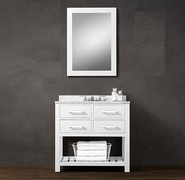 36-inch Belvedere Modern Freestanding White Bathroom Vanity with