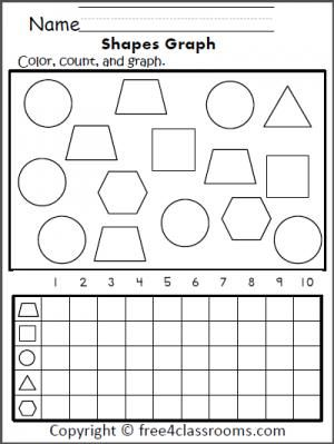 Free 2d Shapes Graph Math Worksheet Shapes Circle Triangle Hexagon Square Shapes Worksheets Shapes Worksheet Kindergarten Shape Worksheets For Preschool
