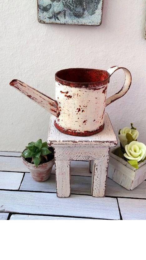 Miniature Dollhouse FAIRY GARDEN Accessories ~ Cream Tin Watering Can ~ NEW