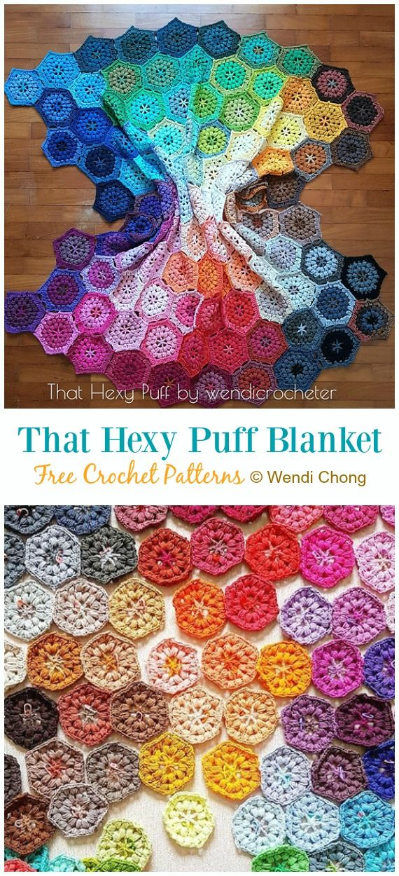 That Hexy Puff Blanket Crochet Free Pattern