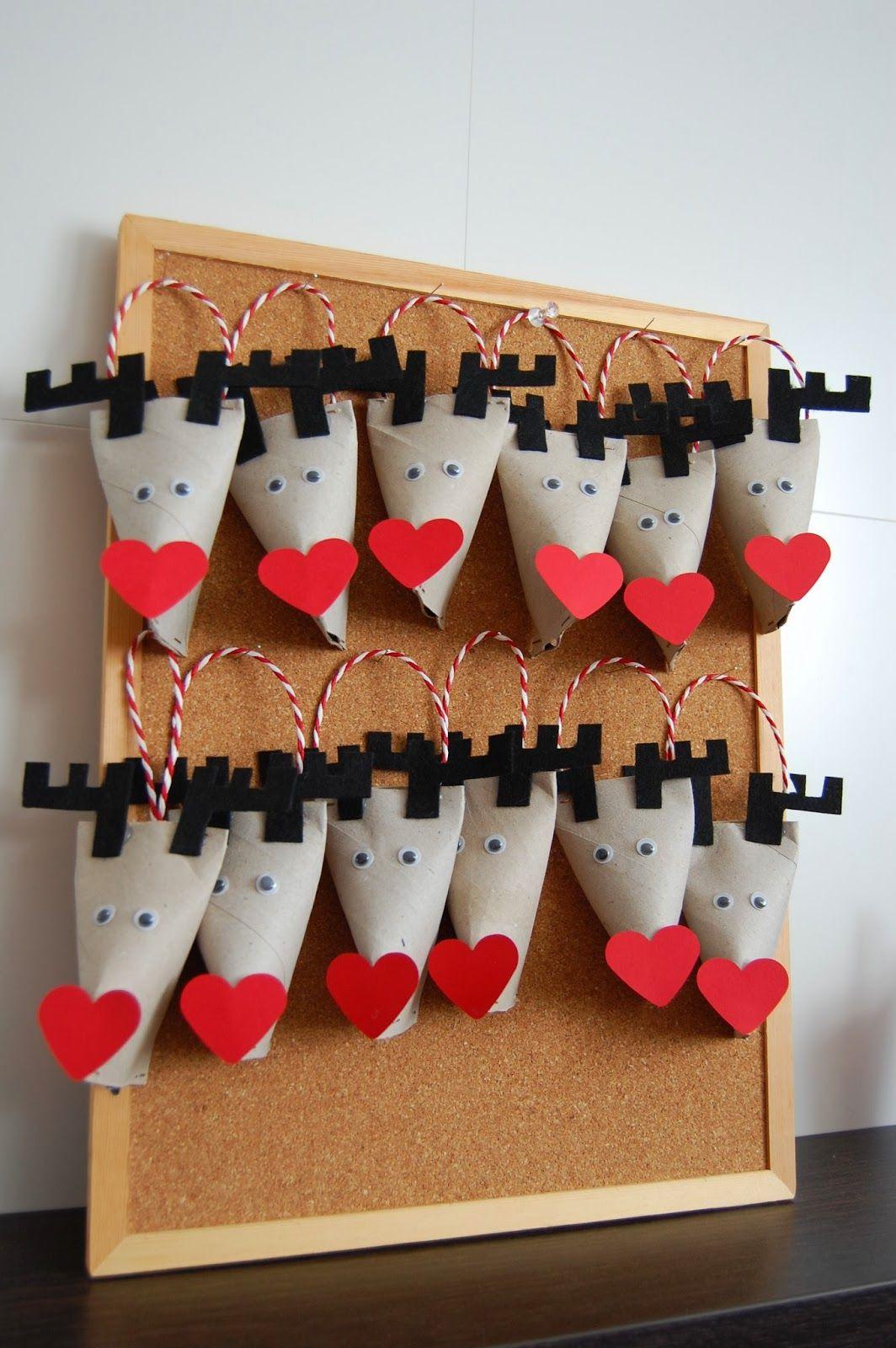 Reindeer advent calendar upcycling wc rolls calendario - Manualidades con rollos de papel higienico para navidad ...