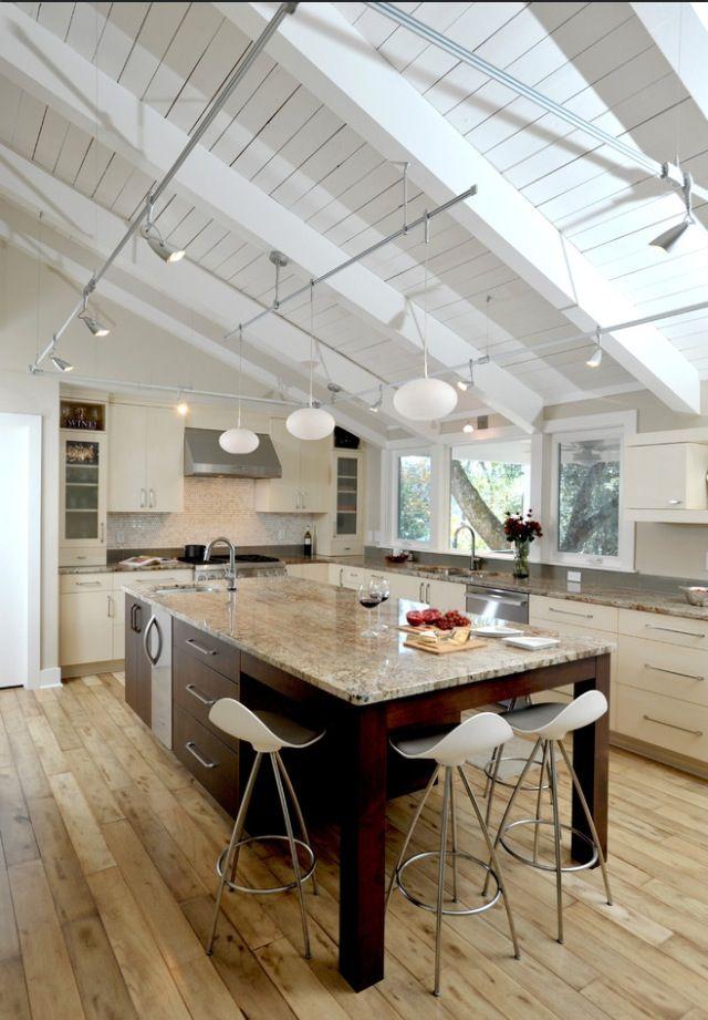 sloped ceiling lighting modern kitchen