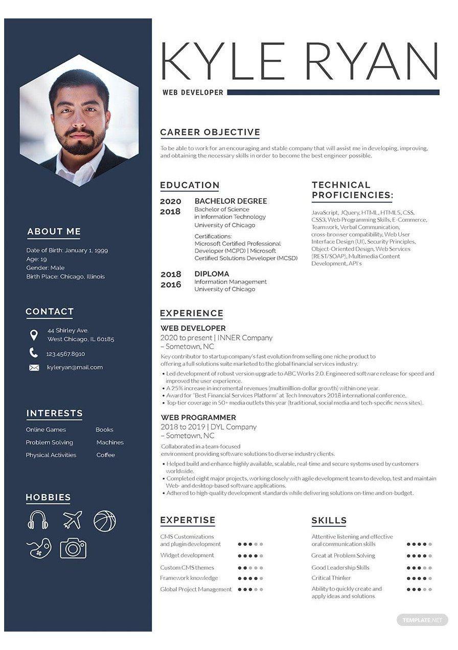Free Designer Resume Cv Template Word Doc Cv Template Download Cvtemplatedownload Instantly Downlo Web Developer Resume Resume Template Web Development