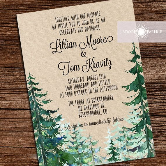 Wald, Hochzeitseinladung, rustikale Aquarell Baum laden, Hochzeit im ...