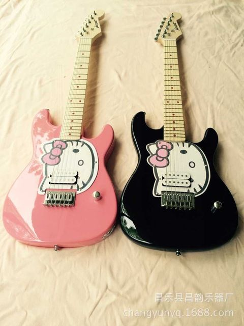Online Shop hello Kitty  cute pink single children practice electric guitar design  electric guitar | Aliexpress Mobile #vintageguitars