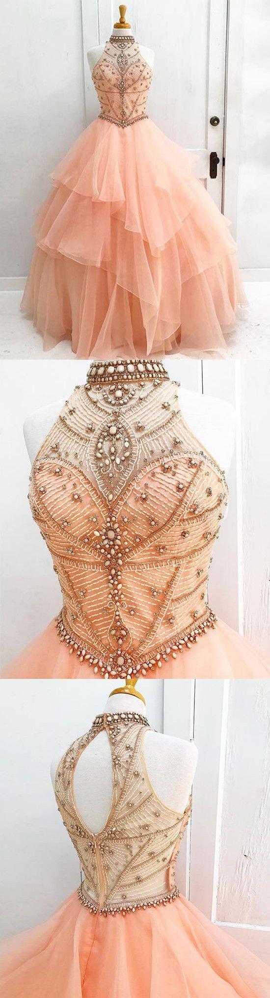Photo of Wunderschönes rosa Tüll hoher Hals trägerlos langes Abendkleid mit offenem Rücken #gorgeousgo …