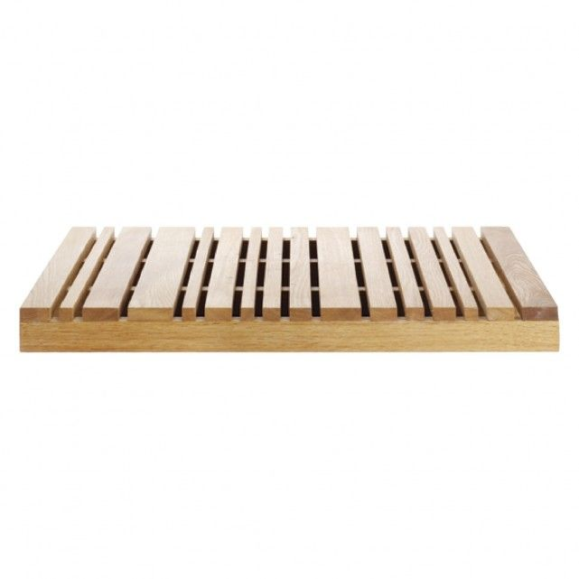 Wood Natural Slatted Oak Bath Mat