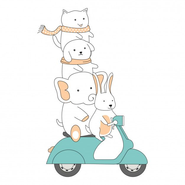 Hand Drawn Friendship Ride Scooter Together Cute Animals Cartoon