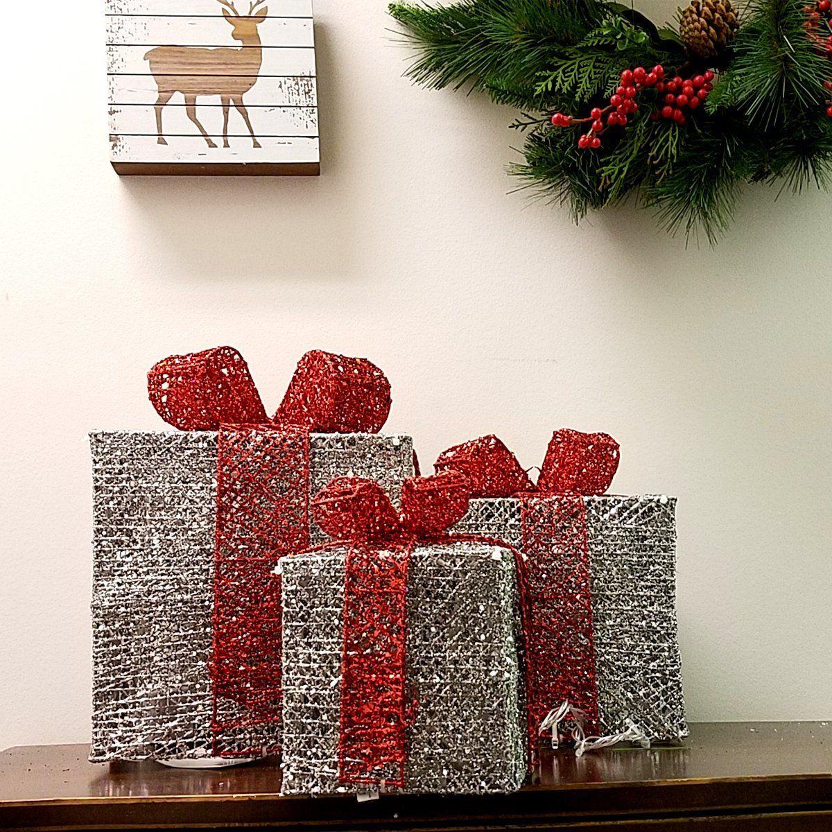 Set of 3 christmas decoration gift box multi coloured