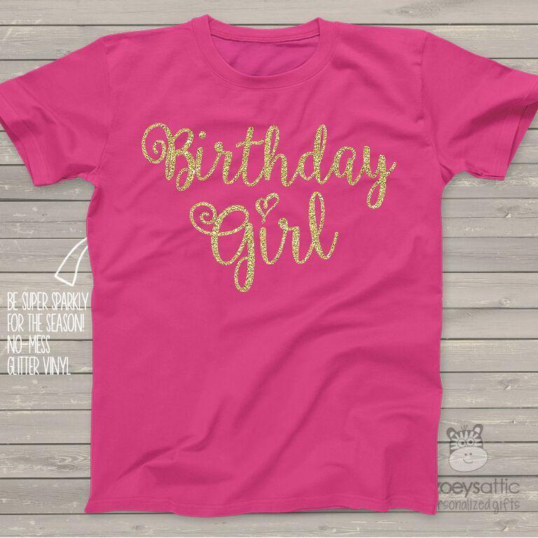 Birthday girl sparkly glitter dark tshirt birthday girl