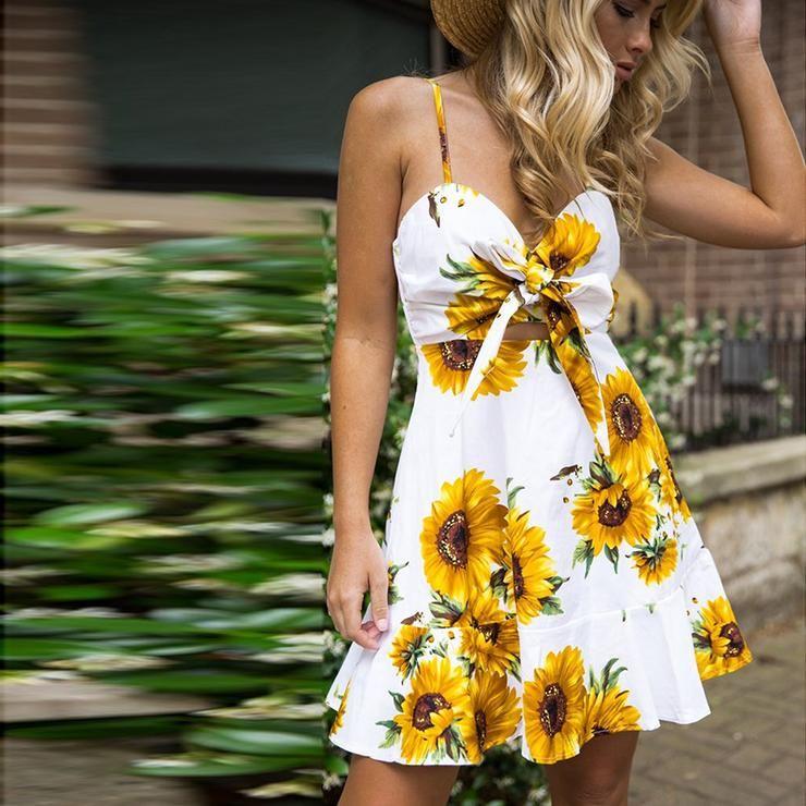 3059067cf988 Sunflower Bowtie Mini Dress in 2019 | 2019 Upcoming Trending Styles ...