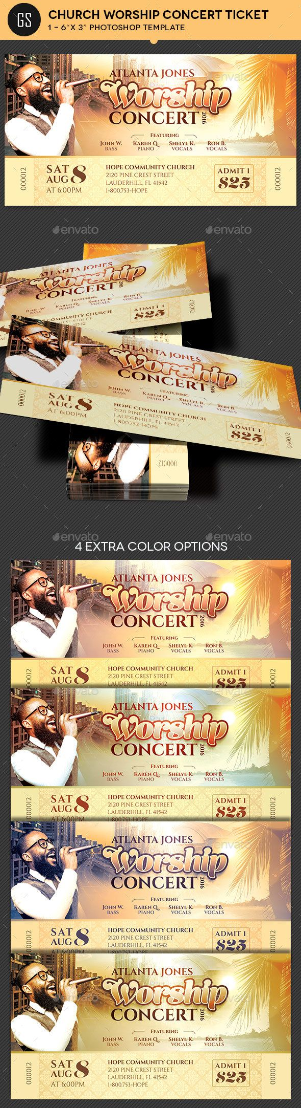 Church Worship Concert Ticket Template – Make Your Own Concert Ticket