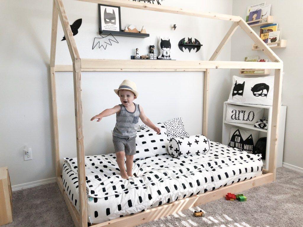Diy Montessori Floor House Bed Arlo S Monochrome Toddler Boy Bedroom Boy Toddler Bedroom Diy Toddler Bed Toddler Rooms