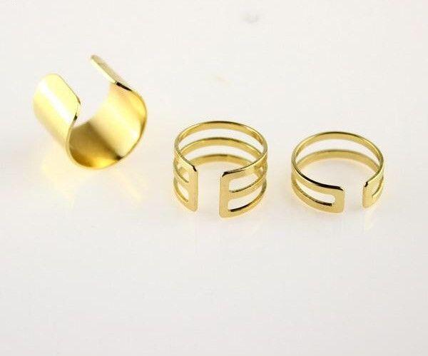 Matte Gold Alloy Cutout Cuff Finger Ring Set
