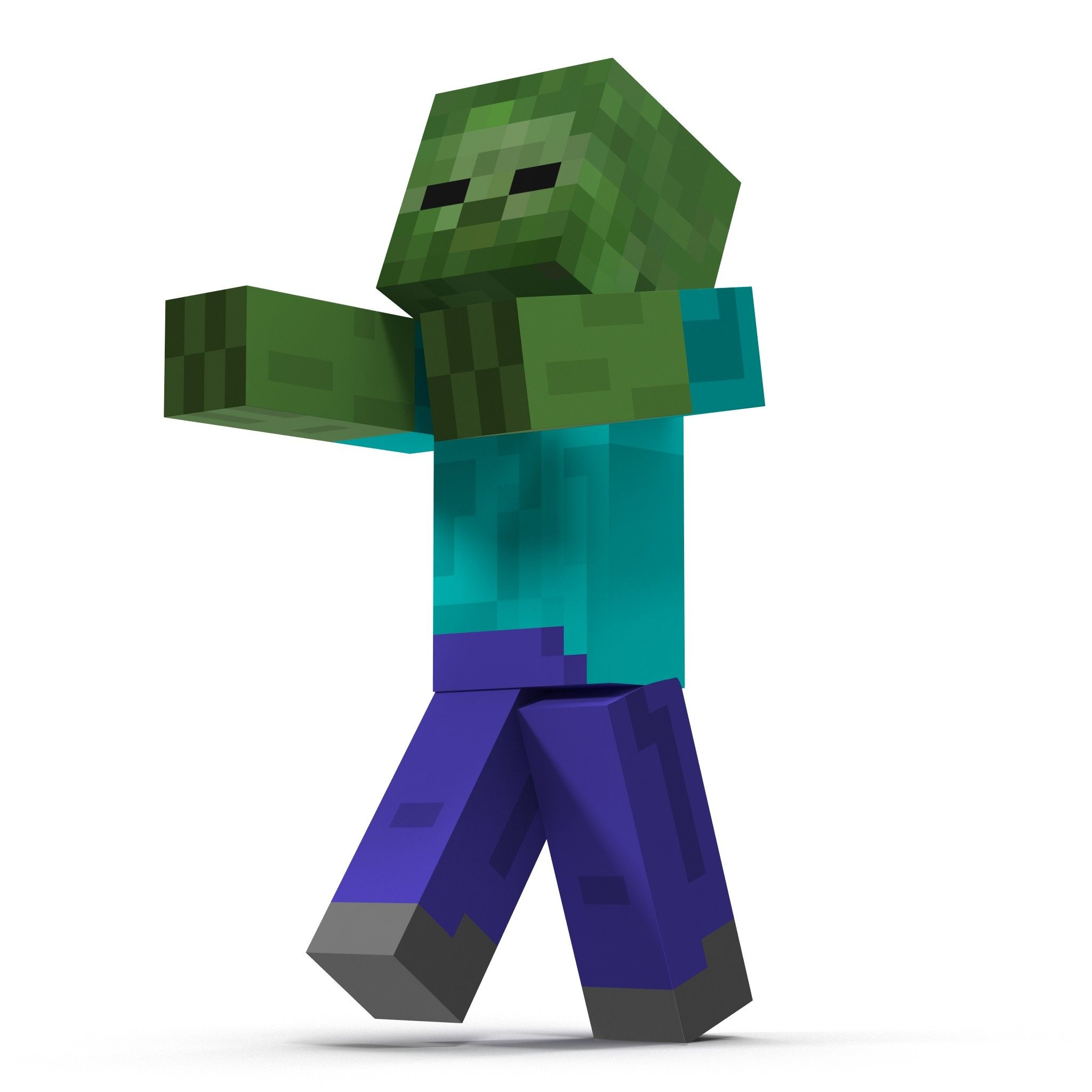 Minecraft Zombie Rigged 12D Model - 12D Model  Minecraft characters