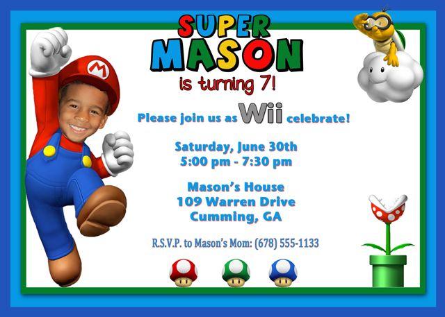 Custom Super Mario Birthday Party Invitation super mario ideas