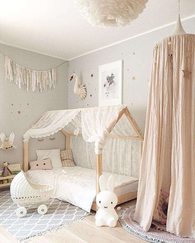 Chambre gris perle, blanc, vieux rose | Déco chambre enfant ...