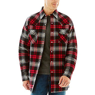 Red Plaid - Ely Cattleman® Quilted Flannel Shirt Jacket - Snap ...