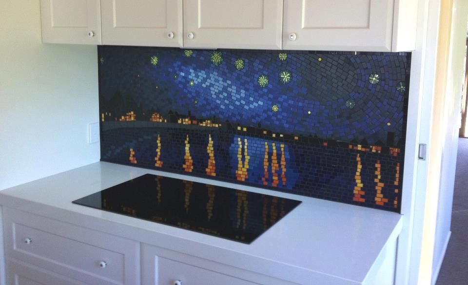 starry-night mosaic splashback | Mosaic, Mosaic murals ...