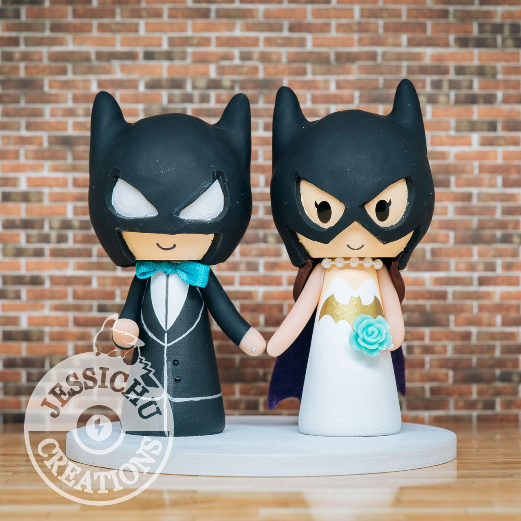 Batman Groom And Batgirl Bride Inspired Dc Comics Custom Made Figurine Wedding Cake Topper Wedding Cake Topper Figurines Batman Wedding Batman Wedding Cakes