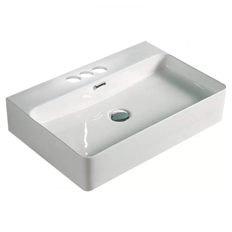 Above Counter Center Drilling Ceramic Rectangular Vessel Bathroom Sink With Overflow In 2020 Sink American Imaginations Rectangular Sink
