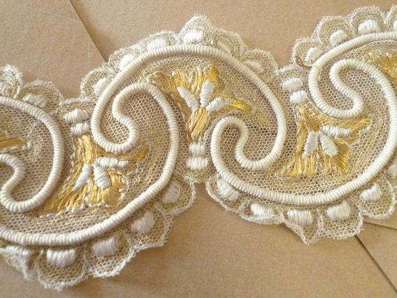 Antique French silk  lace Trim  blonda de por ElTallerAnaGaspar