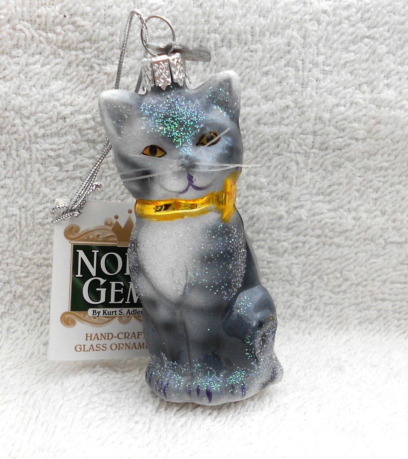 Glass cat ornaments - Grey Silver Tabby Cat Kitten Glass Christmas Tree Ornament Bauble Decoration Ebay