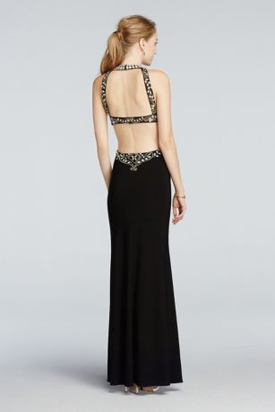 Beaded High Neck Cut Out Jersey Prom Dress Style A17648 | Prom ...