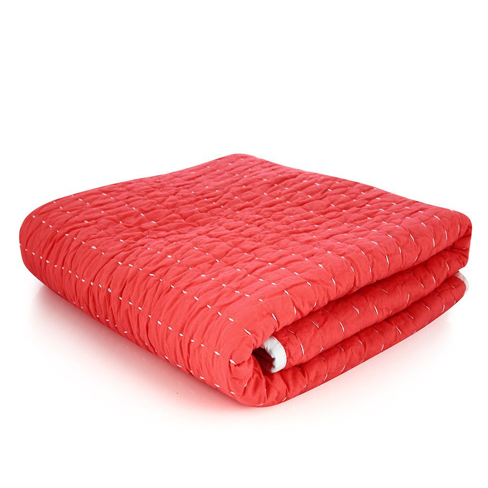 Stitched Quilt - Coral
