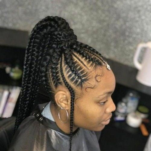 French Braids Ponytail For Black Women Frenchbraids Ponytail Frenchbraidsponytail Ponytailhairsty French Braid Ponytail Feed In Braids Ponytail Hair Styles
