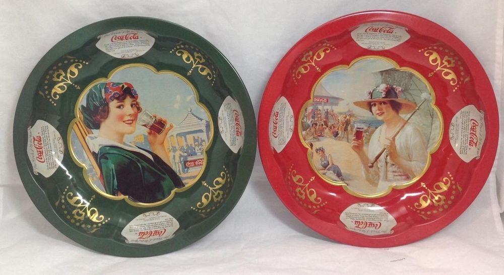 Coca Cola Set of 2 Snack Bowls, Classic Cola art, EUC