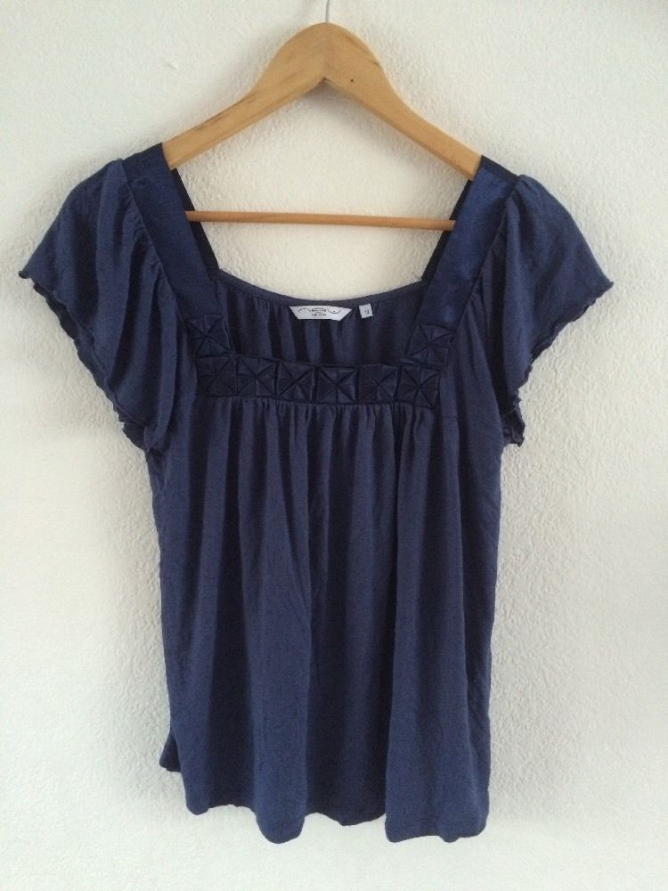 499975f66d844 New Look Blue Top T Shirt Ruffled Sleeve Detailed Size 12  R1338  fashion   clothing  shoes  accessories  womensclothing  tops (ebay link)