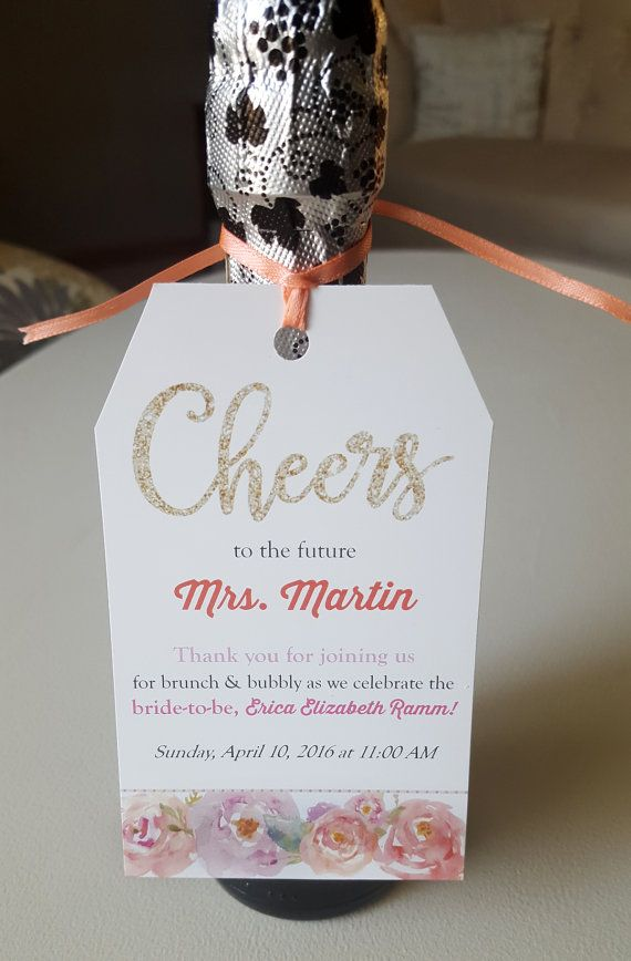 cheers to the future mrs mini champagne favor tags for bridal shower by thepapervow
