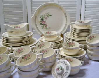 Vintage Royal China Dinnerware Set Shelly Pattern Pink Roses Green 22k Gold 78 pieces PanchosPorch & Vintage Royal China Dinnerware Set Shelly Pattern Pink Roses Green ...