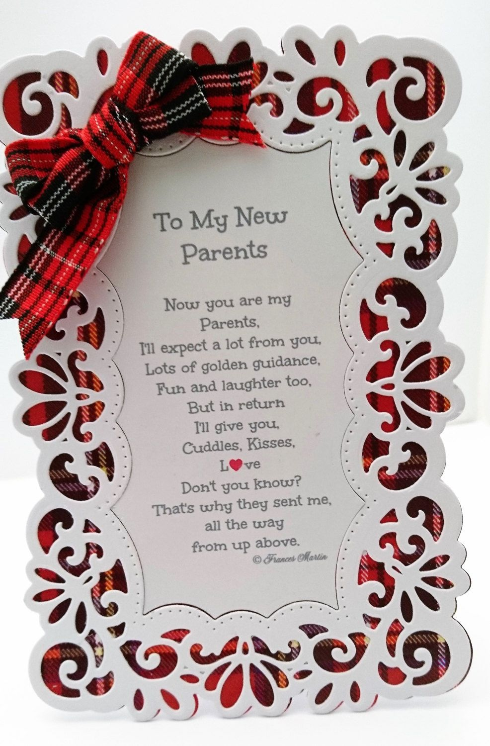 To My New Parents Keepsake Card With Verse Tartan And White Or
