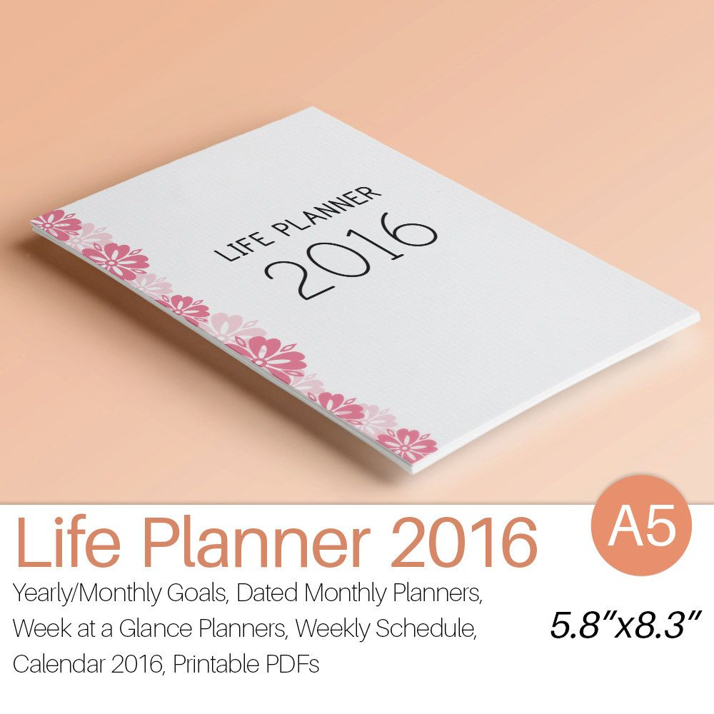2016 PLANNER A5 Printable 2016 Filofax A5 Planner Inserts Weekly Monthly Yearly Calendar Dated Goal Planner Instant Download. 165 pages! by EasyLifePlanners on Etsy