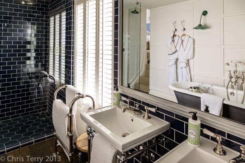 Devon Stone Black Feature Floor Tile 33x33cm In 2019: Beautiful Crackle Glaze Tiles In This Hotel Bathroom