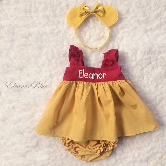 8f9eef50755d6 Winnie the Pooh Personalized Baby Toddler Dress Set Dress   E's 1st ...