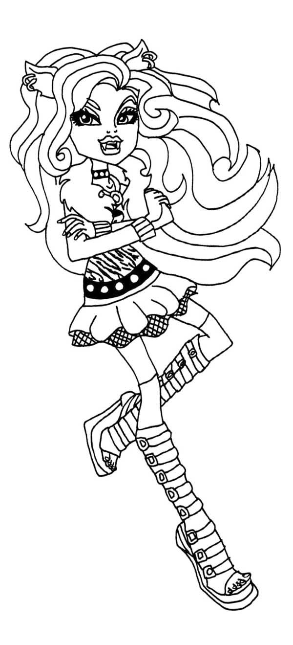 clawdeen wolf monster high coloring page