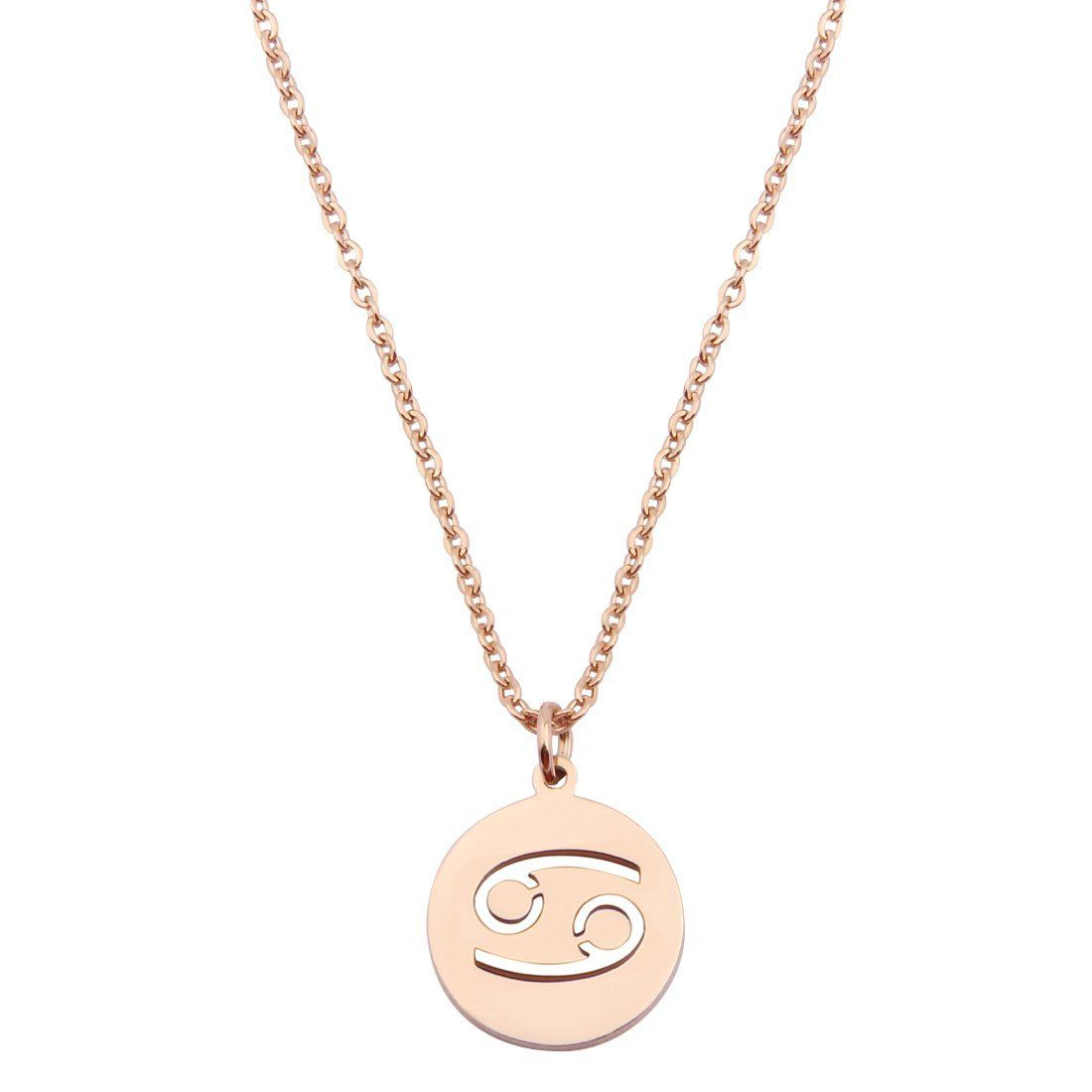 Amazon zodiac pendant necklace rose gold disc horoscope
