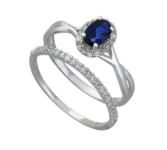 Buy 9ct White Gold 025ct tw Diamond Sapphire Bridal Ring Set at