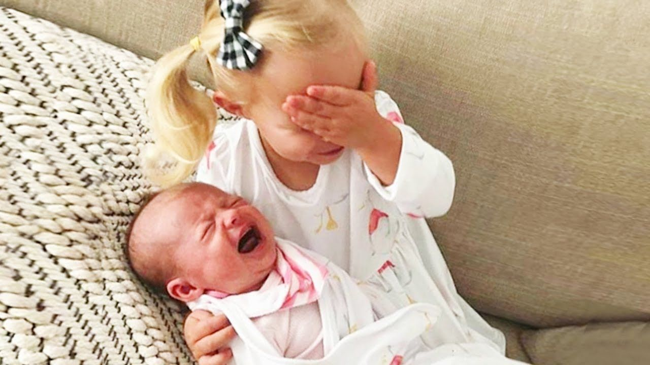 Super Adorable Moment When Big Brothers And Big Sisters Meet Newborn Bab Funny Baby Photos Cute Baby Videos Funny Babies